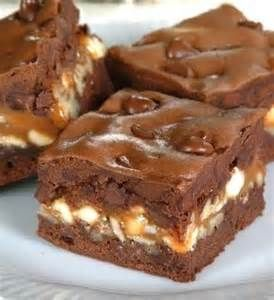Snickers Layered Brownies   Top