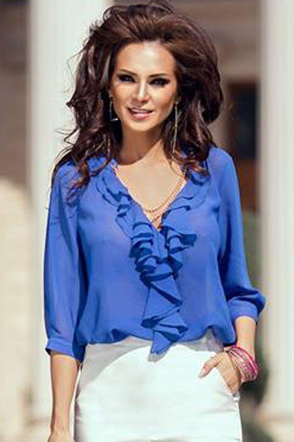 Tops Clubwear Royal Bleu Ruffle Blouse Garniture Manches Pas Cher www.modebuy.com @Modebuy #Modebuy #Bleu #me #Noir