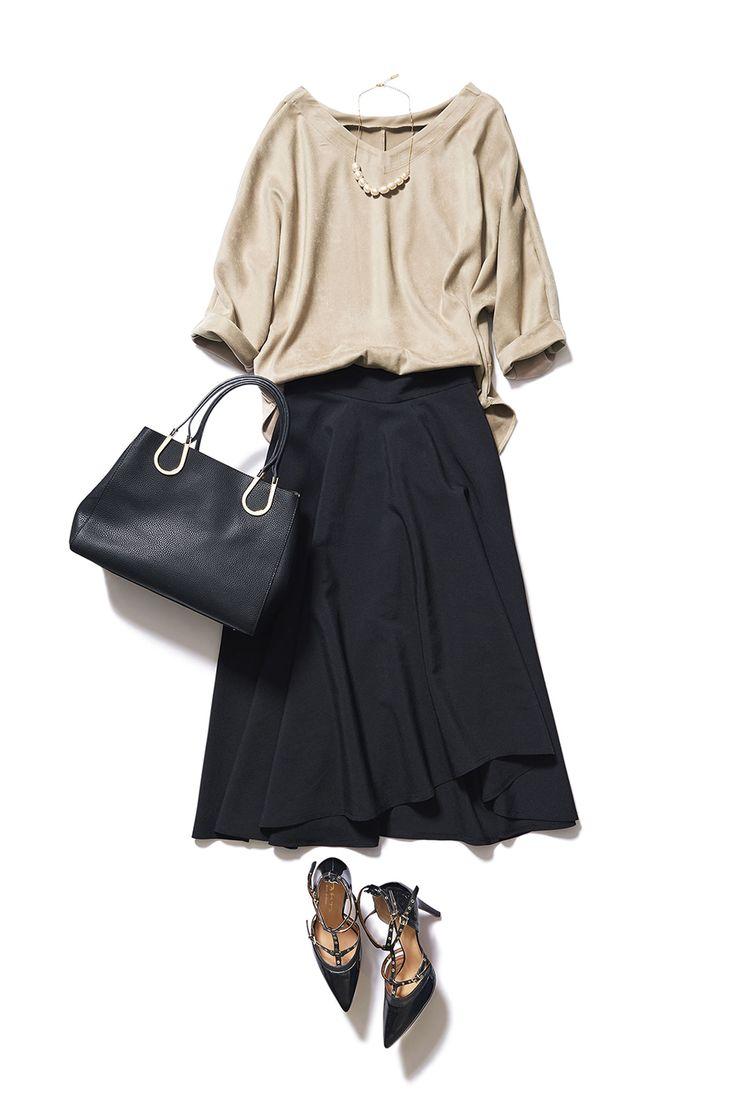 きちんともカジュアルも楽しめる ブラックのミディ丈スカートが1枚あれば!