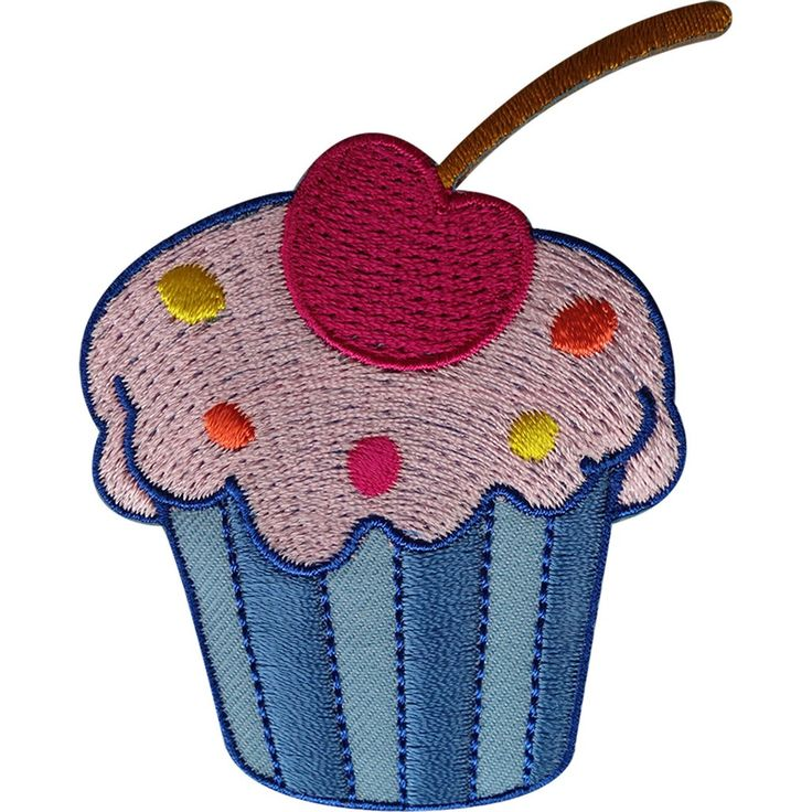 Cupcake Patch Embroidered Badge Cake Food Embroidery Crafts Applique Iron Sew On