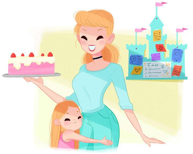 Ihr Leben als Mutter: Cinderella ist die ultimative Pinterest-Mutter. Sie näht wunderschöne Kleidung für ihre Kinder selbst (mit ein wenig Hilfe ihrer Freunde Jaques und Karli), backt tolle Kuchen und verwendet umweltfreundliche Putzmittel.