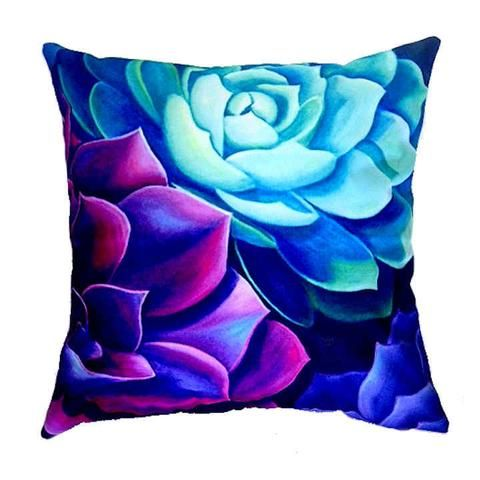 Beautiful Succulent Art on one of our New Outdoor Cushion Covers at QuirkyHappy.com