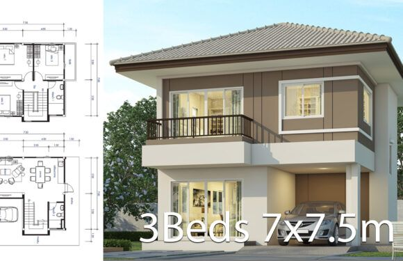 House Design 7 7 5m With 3 Bedrooms Floor Plans In 2021 Simple Bungalow House Designs Philippines House Design 2 Storey House Design Modern house plan pdf