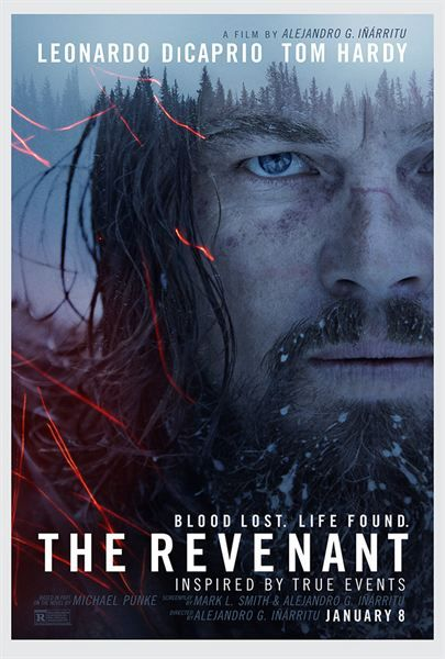 The revenant de A Inarritu (2016-Fév.). Forêts sombres, neige, des poils...rien de glam' mais malgré tout pourquoi pas, parce qu'il en veut, Léonardo, pour retrouver le méchant du film !