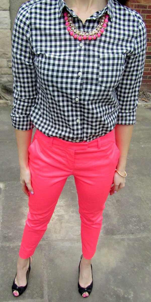 Like the gingham top with the pink/coral pants and black shoes