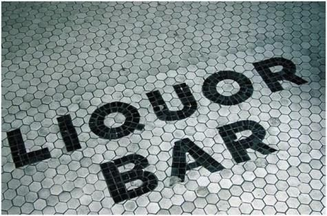 I PROBABLY wouldn't want the floor of my bathroom to say liquor bar but I might be able to be convinced...
