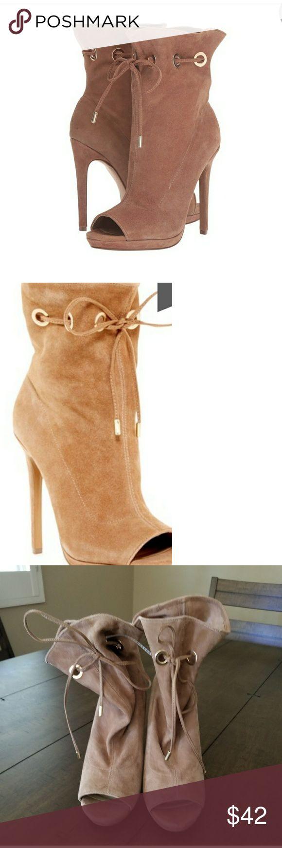 "steve madden cavalier boots steve madden cavalier boots.  Open toed, suede, 5"" heel.  Fantastic shoes Steve Madden Shoes Ankle Boots & Booties"