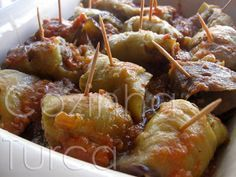Cozinha Turca: Rolos de Beringela com Carne Picada (Köfteli Patli...