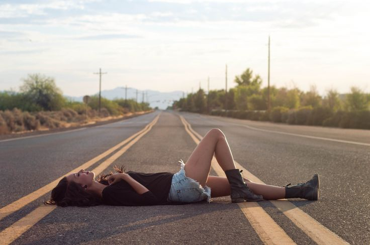 Laying in the road
