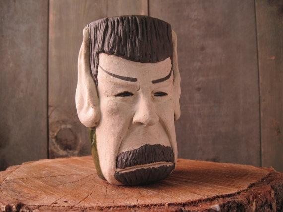 Spock Mug/Stein Mirror Mirror by niswanderceramics on Etsy, $48.00 startrek spock stein