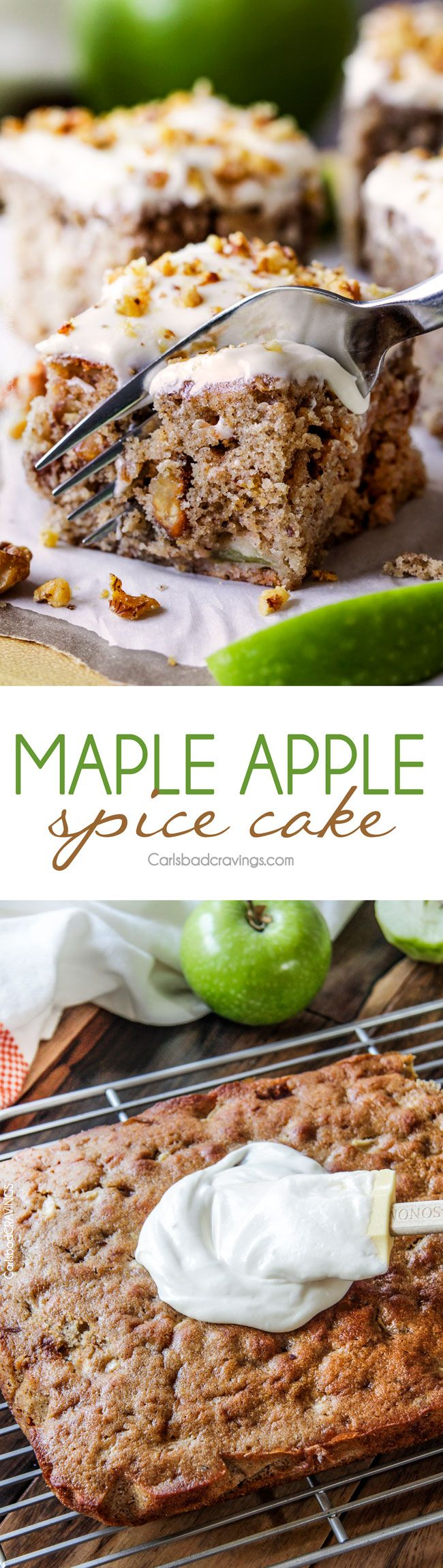 Super moist Maple Apple Spice Cake infused with sweet maple, bursting with Fall spices, walnuts (optional) and smothered in silky cream cheese frosting. Everyone loves this cake! via @carlsbadcraving