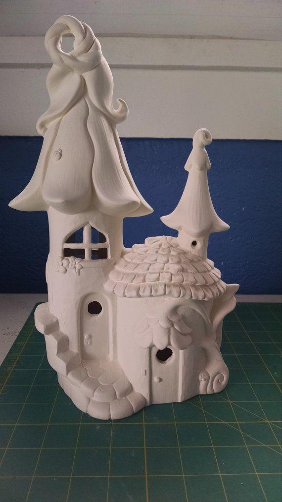 Elf of fee huis en thuis ongeverfd keramische bisque klaar om te schilderen van DIY #250
