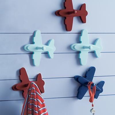 Kids Wall Hang Ups: Childrens Airplane Wall Pegs in Shelf.