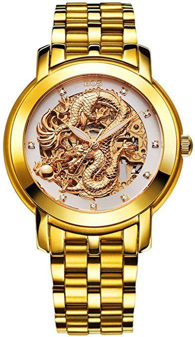 Angela bos Hombre Hollowed Dragón Chino de la moda mecánico Resistente al agua muñeca reloj blanco Dial de banda de acero inoxidable