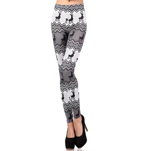LOCOMO Women Reindeer Deer Snow Snowflake Legging S-M ($12) ❤ liked on Polyvore featuring pants, leggings, deer leggings, white pants, legging pants, snowflake leggings and white leggings