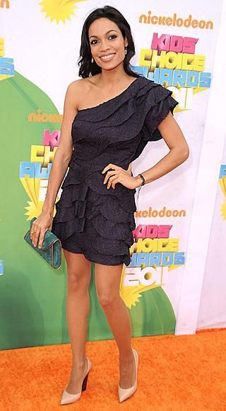 Who made Rosario Dawson's one shoulder ruffle dress that she wore to the Nickelodeon's 24th Annual Kids' Choice Awards in Los Angeles on April 2, 2011? Dress – Fendi