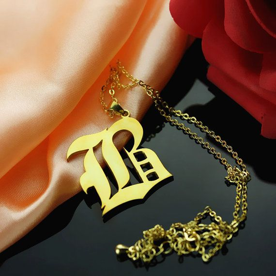 One Letter Necklace in Old English Font by TheMonogramNecklace, $110.00