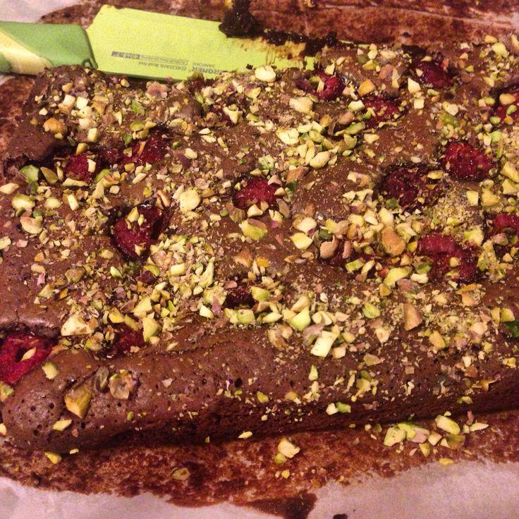 brownie+pistacje+maliny