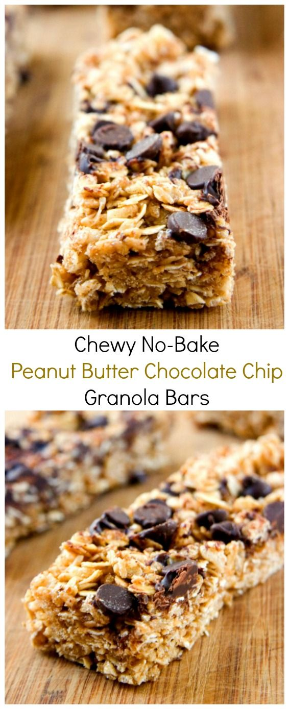 Chewy peanut butter chocolate chip granola bars