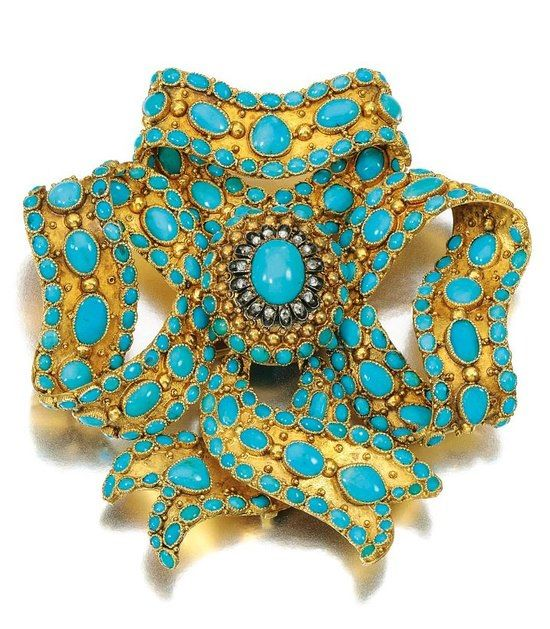 Stunning Design-Gold, turquoise and diamond brooch, Mid 19th Century