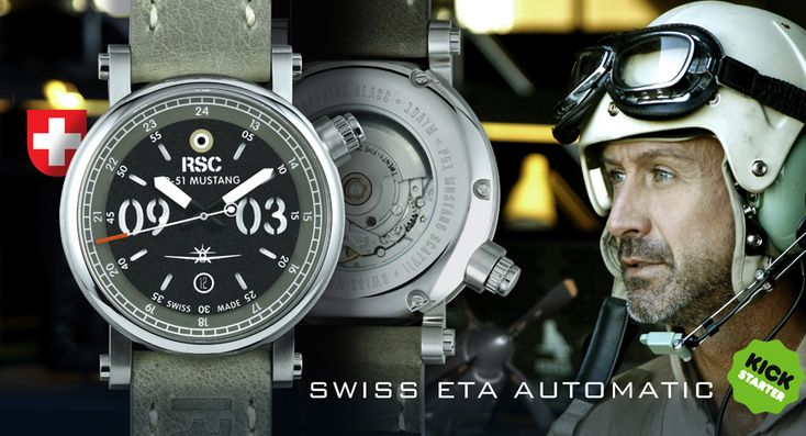 The new RSC P-51 Mustang SCAT7 watch on Kickstarter with images, price, background, & specs.