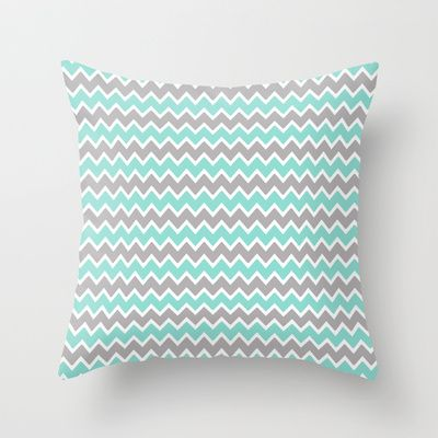 Aqua Turquoise Blue and Grey Gray Chevron Throw Pillow for baby nursery or any home bedroom bedding decor #decampstudios