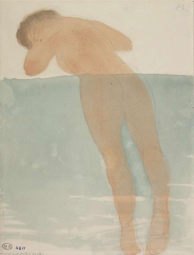 Auguste Rodin - Femme nue de dos, allongée sur le ventre