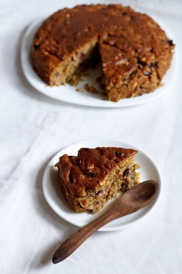 Plum Cake: Eggless and Diary Free Cake Recipe made from fresh plums.