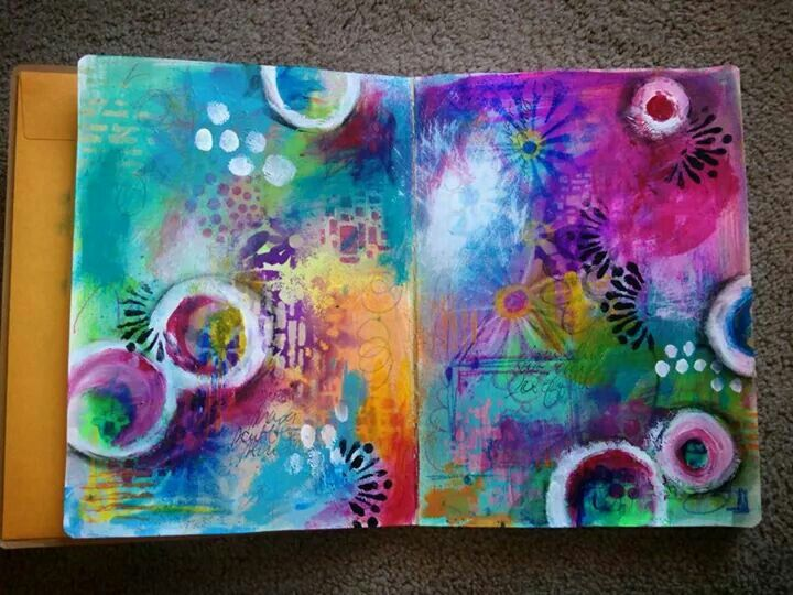 Diane's Mixed Media Art - art journal pages.  ♡ the colors...
