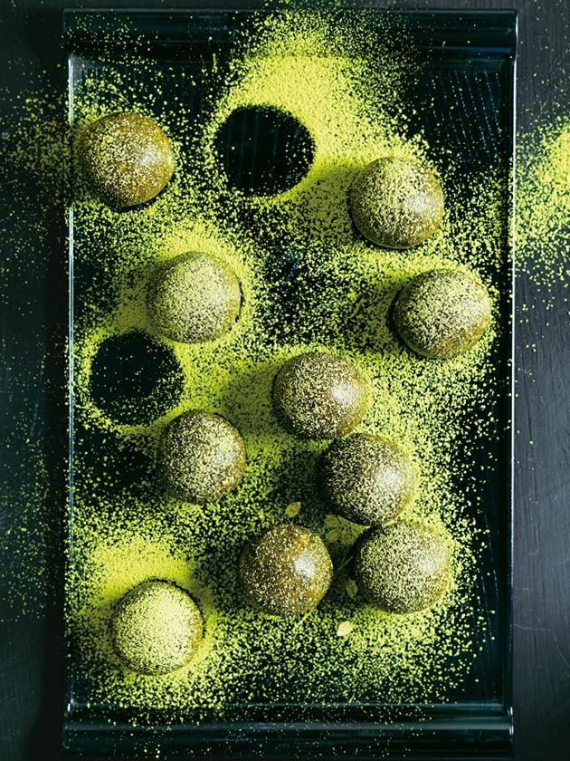 matcha almond and hazelnut bliss balls from donna hay fresh + light issue #4