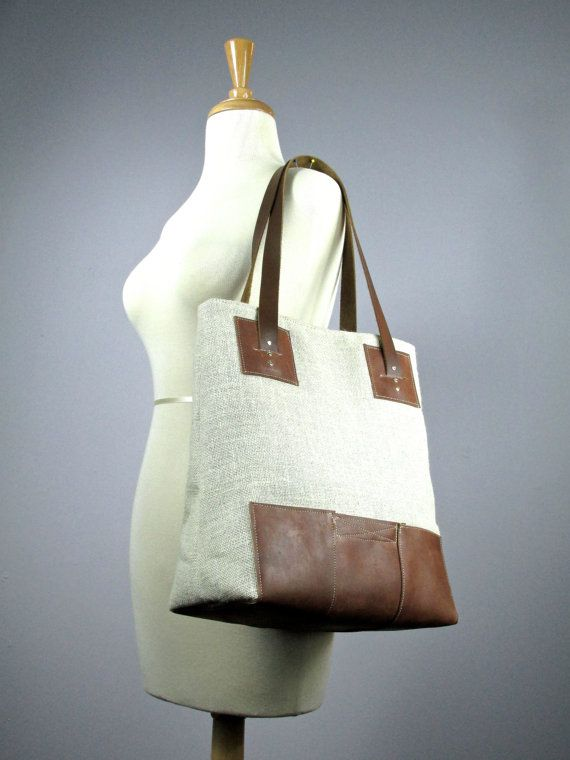 Burlap tote bag  Natural Eco friendly Leather and burlap bag  Market tote Bag 12 pockets