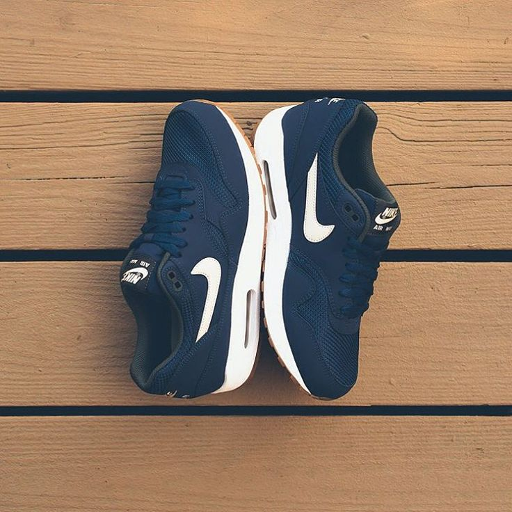 """Nike Air Max 1 Essential - Midnight Navy/Light Bone/White $110 sizes 7.5-13 Available now at all locations. #airmax1 #sneakerpolitics #am1"""