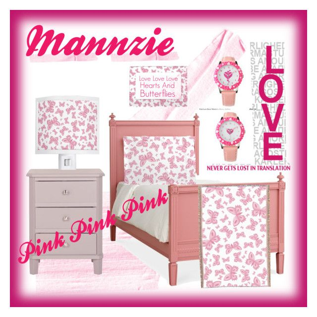 """Pink Pink Pink"" by mannzie on Polyvore featuring Pink #Hearts and #Butterflies with #Watch #Lamp #Blanket #PillowCase and a #PictureFrame"