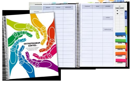 The Entrepreneur Sorted Planner – the journal that assists entrepreneurs with organisation and time management. It is ideal for anyone starting or running a business or for anyone managing projects.