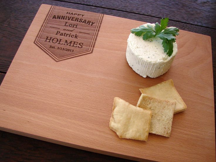 Personalized Anniversary Cutting Board Cheese Board Wedding Present Hostess Gift for Couples Kitchen Cuttingboard Retirement Coworker Gift by TheCuttingBoardShop on Etsy https://www.etsy.com/listing/181965086/personalized-anniversary-cutting-board
