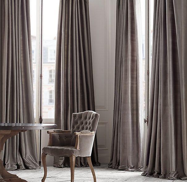 Floor To Ceiling Thai Silk Tonal Stripe Drapery I N T