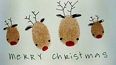 Thumb Print Reindeer Card... You could create this then scan it, duplicate it and make some really cute Christmas Cards scrapbook style w/some coordinating paper, ribbon, buttons, etc.  Too cute!!