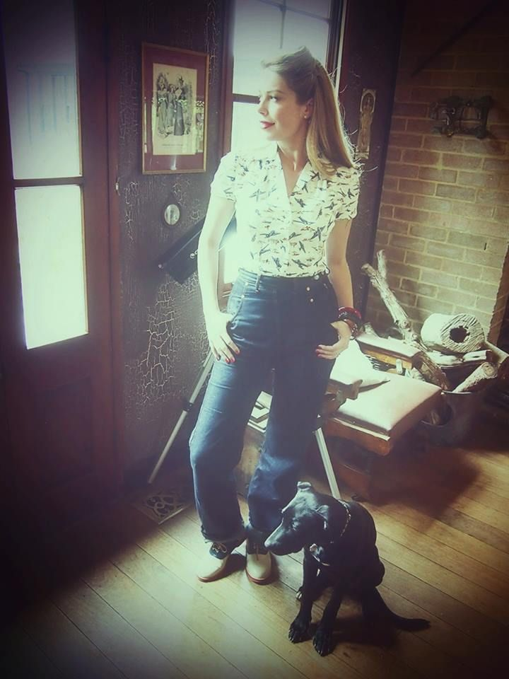 40s Bakelite bangles, Freddies of Pinewood Rivet jeans in extra long, WWII victory planes shirt, Rocket Originals saddle shoes. - Tara Moss