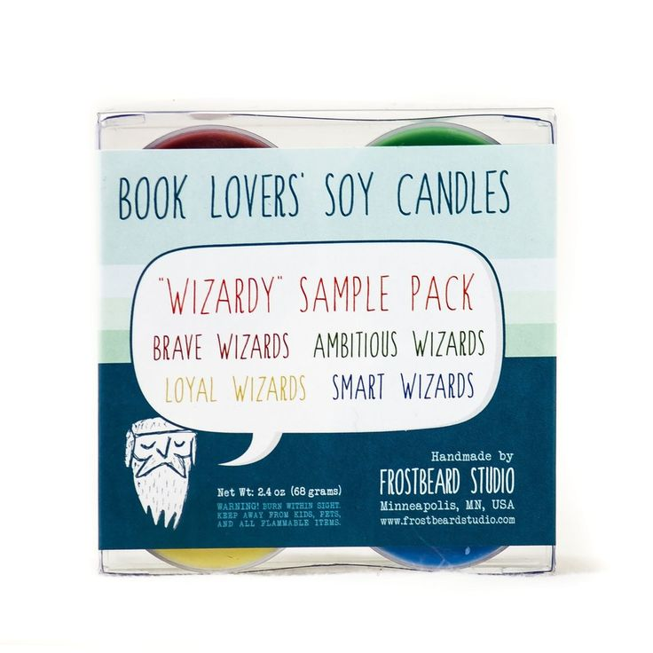 Wizardy soy candle sample pack label view