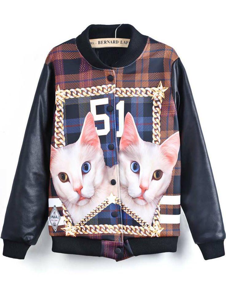 Black Long Sleeve Cat 51 Print Jacket - Sheinside.com