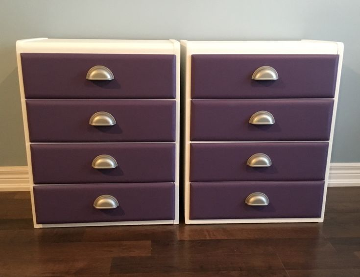 Custom paint job nightstands done in Fusion Mineral Paint Picket Fence and Pantone colour of the year Ultra Violet