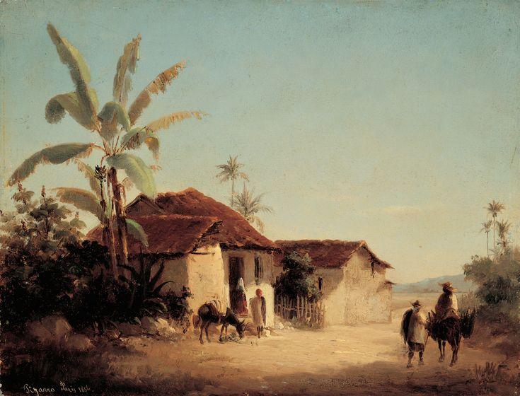 Camille Pissarro | Paisaje tropical con casas rurales y palmeras, c.1953 | Galeria de Arte Nacional, Caracas