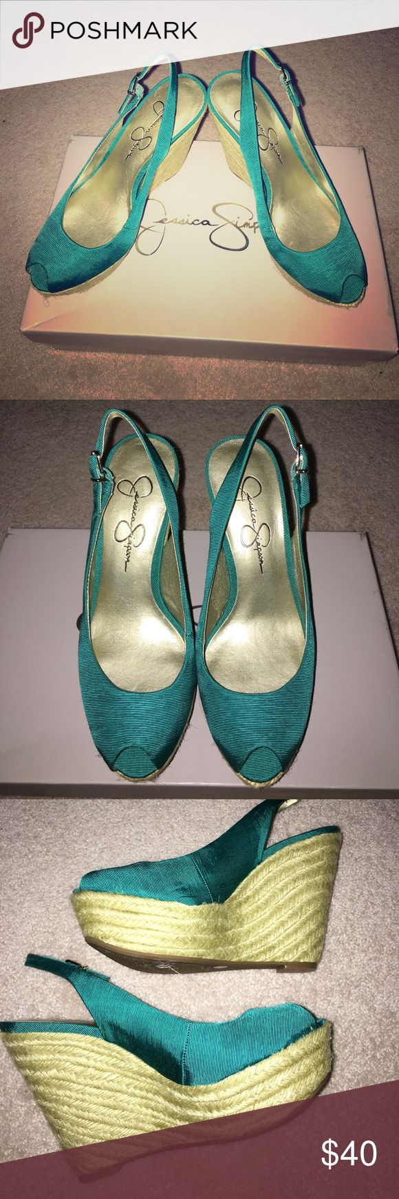 Jessica Simpson teal wedges - New never worn. Jessica Simpson teal wedges - New never worn. Fabric uppers, 4 1/2 inch wedge platform. Size 5.5M. Purchased from Nordstrom... comes with box. Jessica Simpson Shoes Wedges