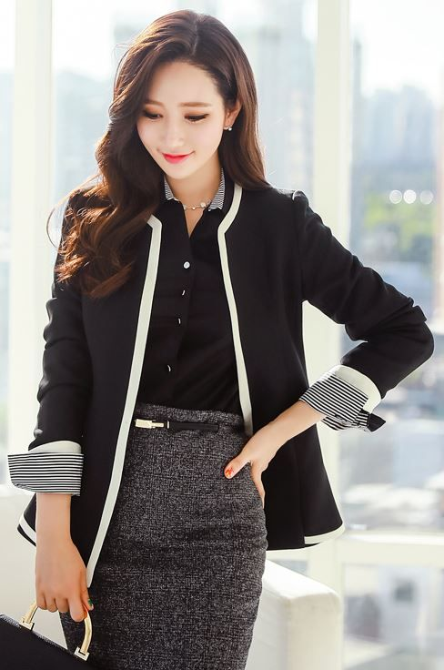 StyleOnme_Contrast Color Trim Collarless Jacket #blackandwhite #chic #simple…