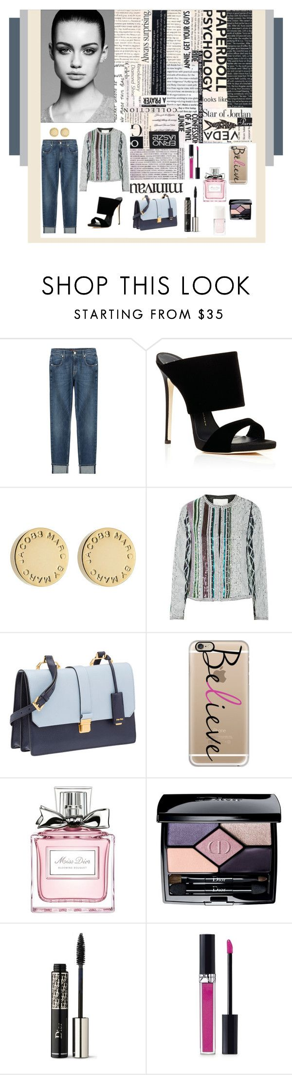 """Untitled #110"" by popescu-io on Polyvore featuring 7 For All Mankind, Trowbridge, Giuseppe Zanotti, Marc by Marc Jacobs, Maje, Miu Miu, Casetify and Christian Dior"