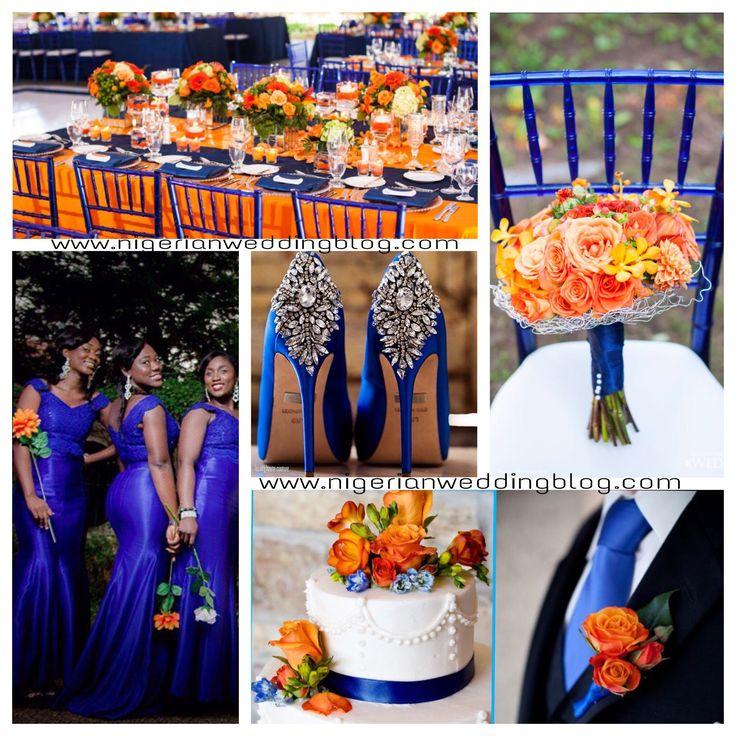 Nigerian Wedding Orange And Royal Blue Colors
