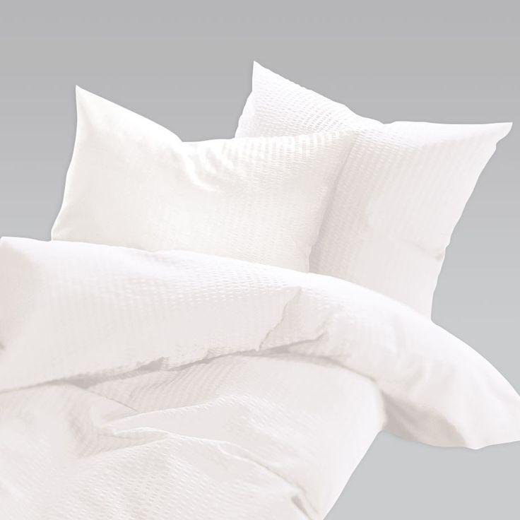 Schlafgut Uni Seersucker Bettwäsche bügelfrei weiss online kaufen