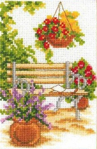 Vervaco Counted #crossstitch AT THE GARDEN BENCH ♥ #new #ebay #sale #spring #garden #flowers #gift #decor #DIY #project #handcraft #handmade #needlework #stitching