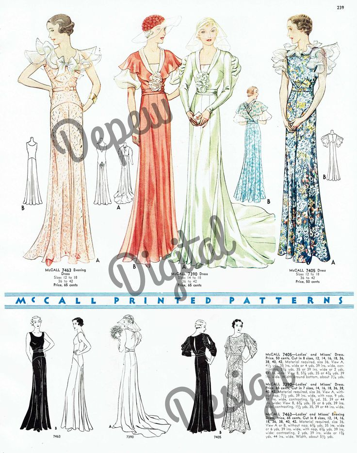 603 best 1930s McCall Evening Patterns images on Pinterest