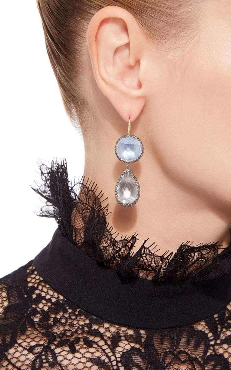 Sadie Round and Pear Drop Earrings by Larkspur & Hawk| Moda Operandi
